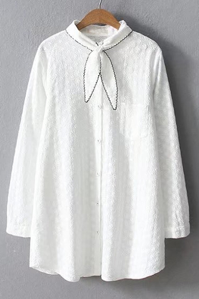 Women's Fashion Bow Tie Neck Long Sleeves Button Down Cotton Dobby Tunic Shirt