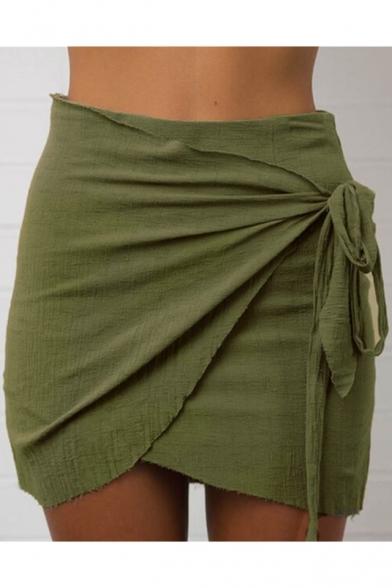 Women's Fashion Trendy Bow Twist Side High Waist Wrap Mini Skirt