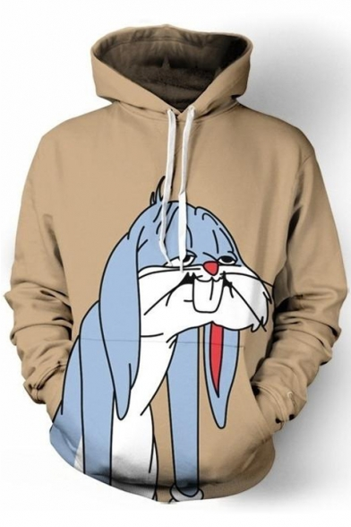 Hoodie Cartoon Long Chic Print Sleeve Pocket Rabbit wqYYBxgn6d