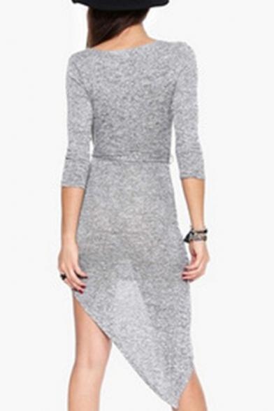 Chic Plain Wrap Front Belt Waist Asymmetric Hem Dress