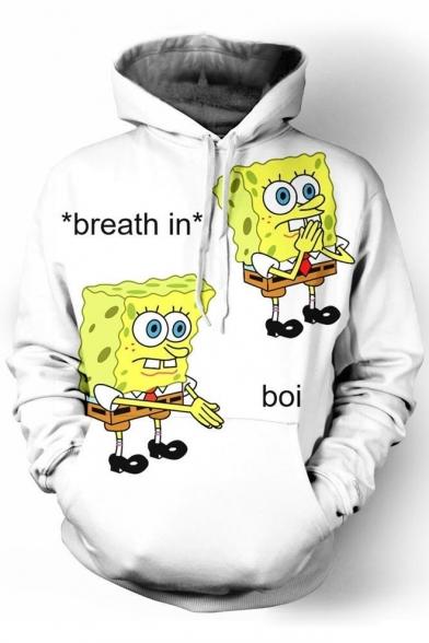 Cute Spongebob Cartoon Letter Printed Long Sleeves Pullover Hoodie with Pocket