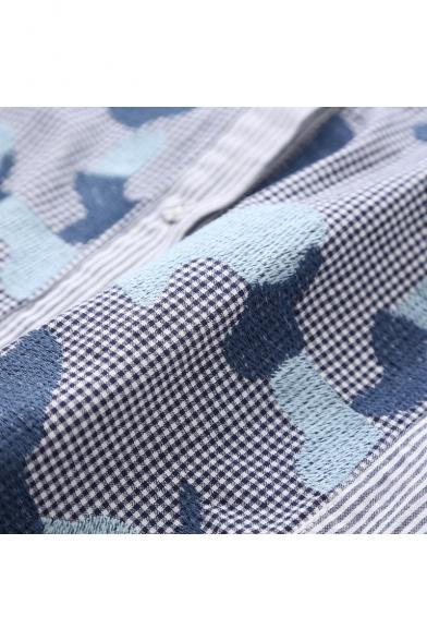 Fashion Color Block Embroidered Striped Plaid Pattern Long Sleeve Dip Hem Tunic Shirt