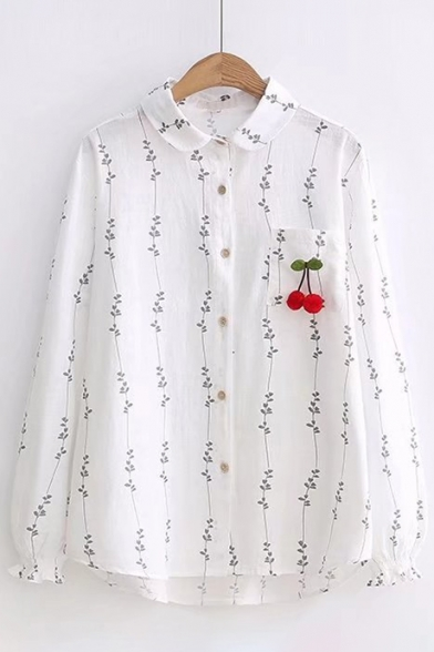 Pattern Cherry Pom Sleeve Long Fashion Embroidered Lapel Pom Shirt Leaf xAqX6SXn
