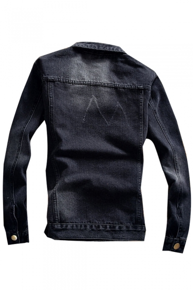 Fashionable Lapel Long Sleeves Button Down Ripped Denim Jacket with Chest Pockets