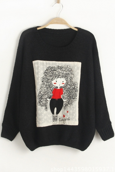 Cartoon Printed Batwing Sleeves Sweater Neck Girl Loose Round Leisure Pullover dnXTnf