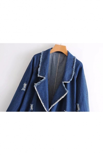Denim Pockets Breasted Ripped Lapel Double Edged Raw Leisure Notched Coat Oversize OxqpwTWfa