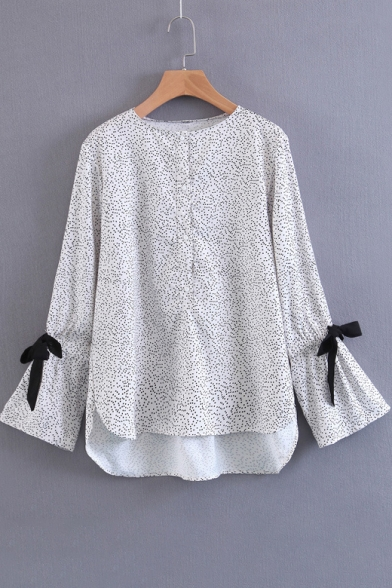 Peasant Polka Dotted Bow Bell Sleeves Dipped Hem Button Detail Blouse