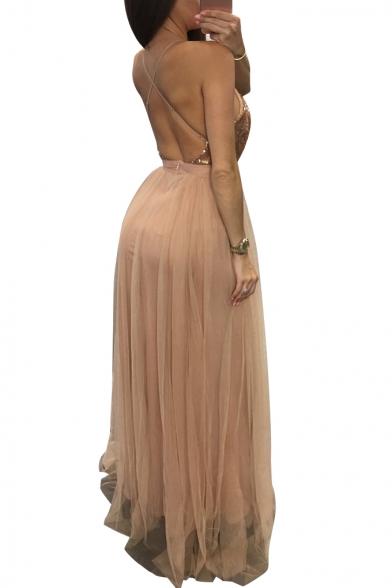 Pop Plunge Neck Mesh Sequined Patchwork Cross Back Split Front Maxi Cami Dress