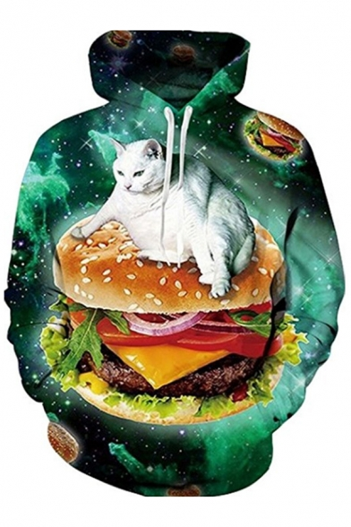 Hoodie Printed Pullover Galaxy Popular Long Hamburger Cat Sleeves with Pocket wn0qAFx4Y