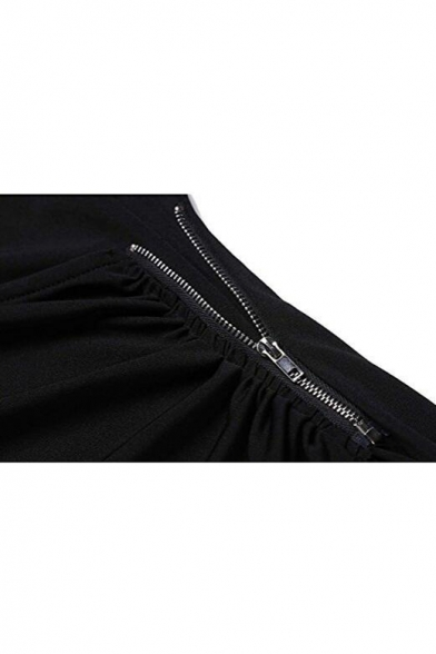 Sexy Plunge Neck Long Sleeves Plain Slim-Fit Wrap Bodycon Mini Dress
