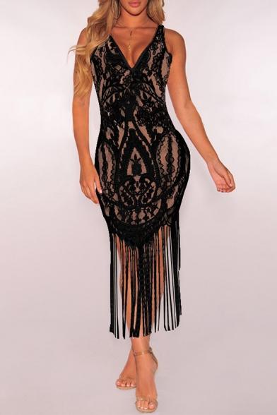 d73ec4e1a3b Sexy V Neck Sleeveless Sheer Lace Maxi Dress with Tassel Hem -  Beautifulhalo.com