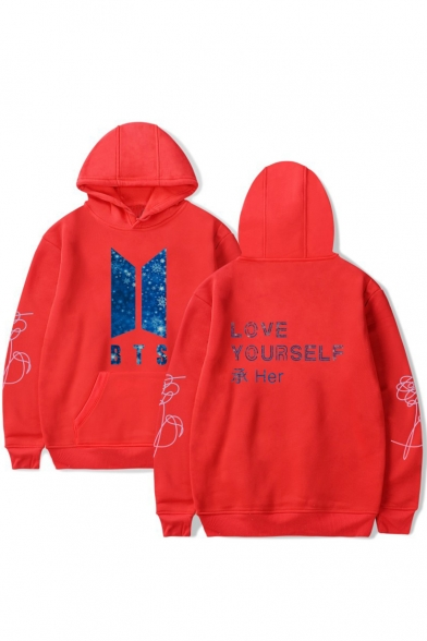 with Hoodie Sleeves Letter Pocket BTS Printed Pullover Simple Long xpZRzwqZ0