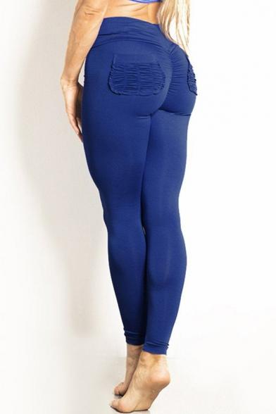 0003a75c8d Sportive Double Pockets High Waist Slim-Fit Plain Workout Pants -  Beautifulhalo.com