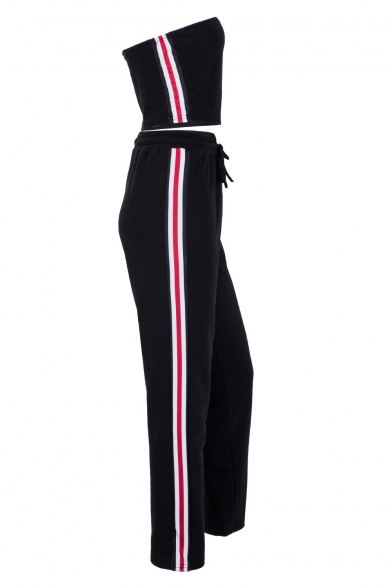 Sportive Off the Shoulder Bandeau with Striped Side Drawstring Waist Joggers