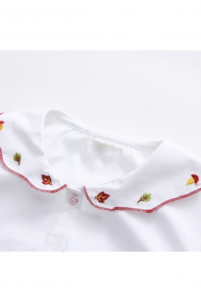 Leaf Long Embroidered Down Pan Shirt Button Collar Sleeve Peter Stylish d6nFxwXqZ6