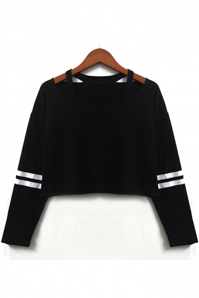 Stylish Striped Pattern V-Neck Cutout Hollow Long Sleeves Cropped Tee