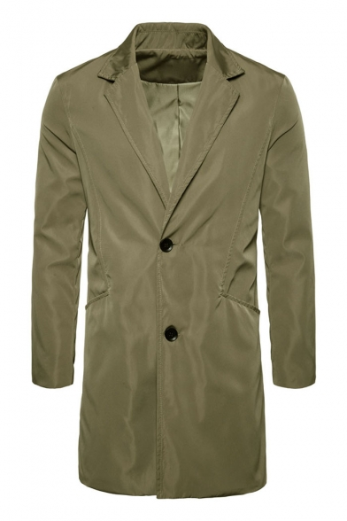 Trendy Button Men's Blazer Sleeves Plain Double Longline Long Lapel Notched rH4rqx