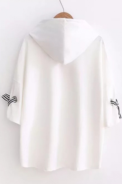 Hooded T Letter AND Half Bow Printed Shirt Cuff Sleeve Detail nFnqRSX