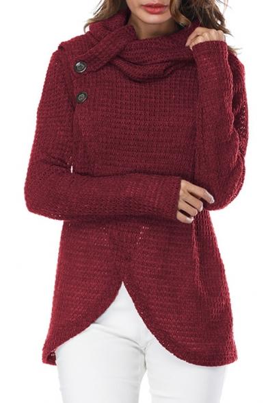 Autumn Wrap Pullover Hem Button Turtleneck Plain Sweater Front Detail Fashion Tulip nngrIZ