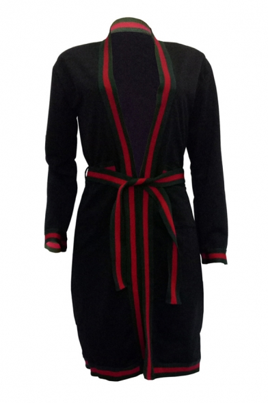 Cool Tiger Letter Striped Pattern Wrap Front Belted Bow Longline Coat