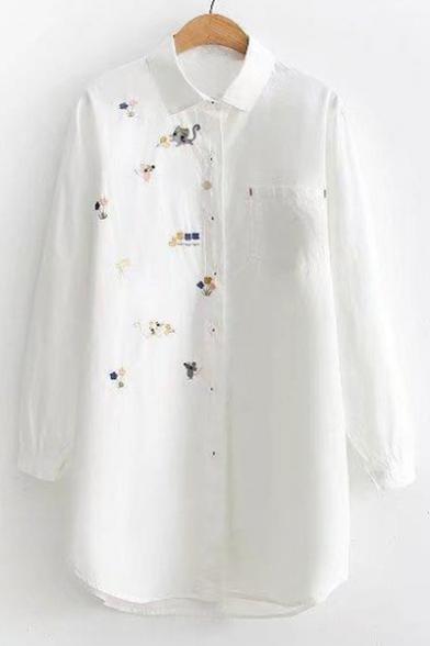 Long Cat Floral Mouse Cute Shirt Tunic Sleeve Lapel Cartoon Print CBq5wYx
