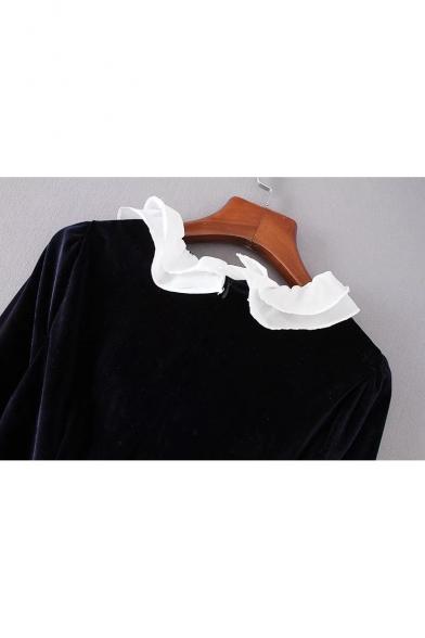 Elegant Ruffle Collar & Cuff Beaded Velvet Mini Shift Dress