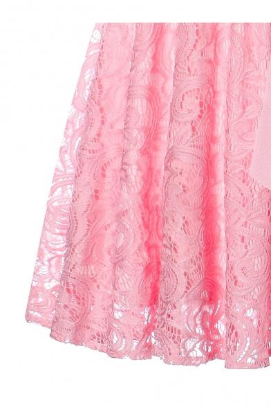 Elegant V-Neck Bow Tie Belted Lace Panel Zip-Back Plain Midi Fit & Flare Dress