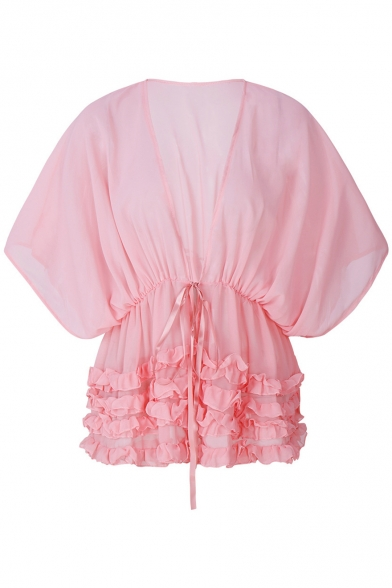 Fancy Plain Ruffle Tiered Hem V-Neck Batwing Sleeves Bow Tie Front Cover Up Blouse