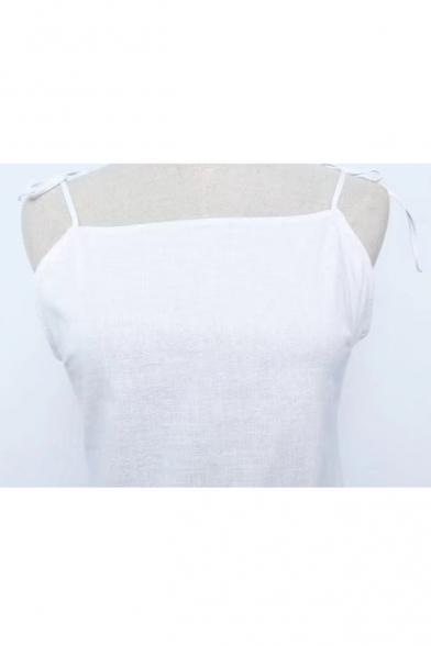 Fashionable Bow Tie Spaghetti Straps Simple Plain Cami Mini Dress