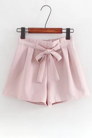 High Elastic Waist Bow Embellished Plain Pleated Cullottes