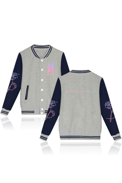 Letter Color Block Print Long Sleeve Stand-Up Collar Single Breasted Baseball Jacket