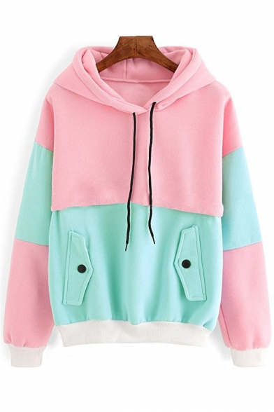 Hoodie Color Block New Long Print Sleeve Fashionable SzSq4g