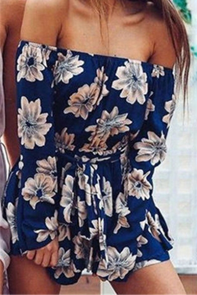 New Stylish Floral Print Long Sleeve Off Shoulder Rompers