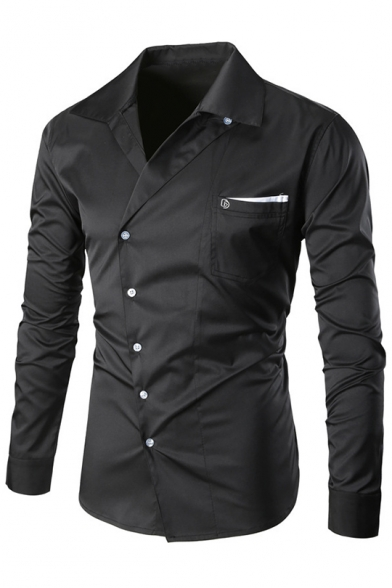 Long Lapel Stylish Simple Single New Plain Breasted Sleeve Shirt qptIIwd