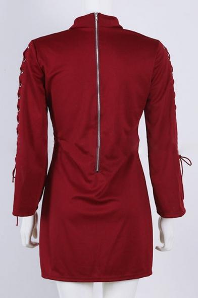 New Stylish Turtleneck Tie Long Sleeve Split Cuff Simple Plain Dress