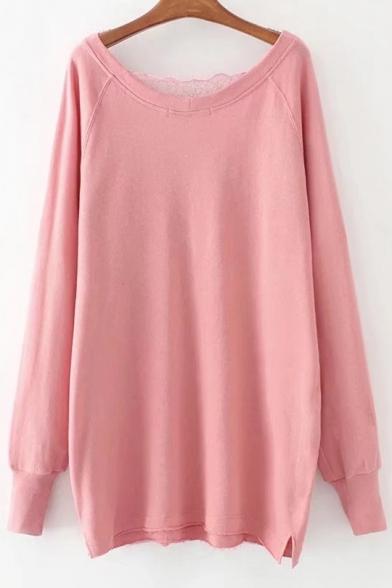 Sexy Lace Panel Plunge Neck Long Sleeves Plain Shift Sweatshirt Mini Dress