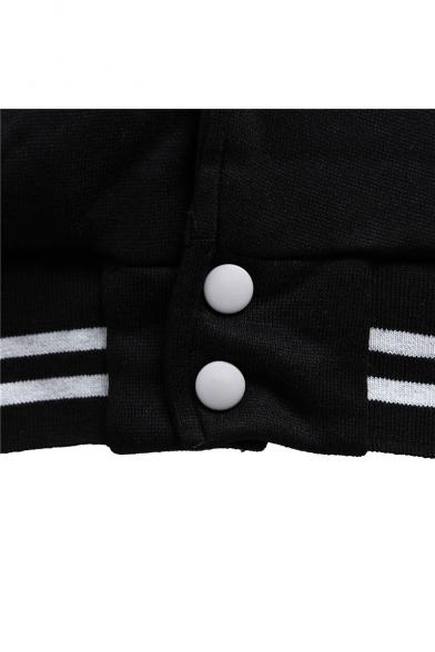 Stylish Badge Letter Eagle Printed Striped Trimmed Color Block Baseball Jacket