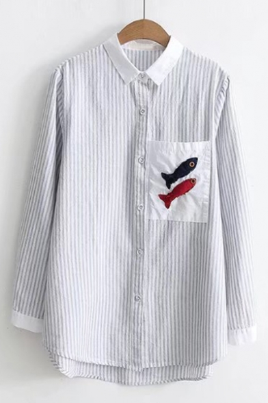 Collar Pocket Striped Point Chest Sleeves Contrast Stylish Down Fish Pattern Long Shirt Button Xpwg0g