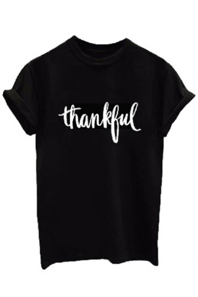Printed Neck Short Tee THANKFUL Letter Round Sleeve w4pvqH5