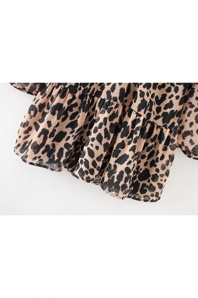 Pattern Bell Leopard Layered Trendy V Smock Dress Layered Mini Sleeves Panther Neck Tiered OEZXqZnUWS