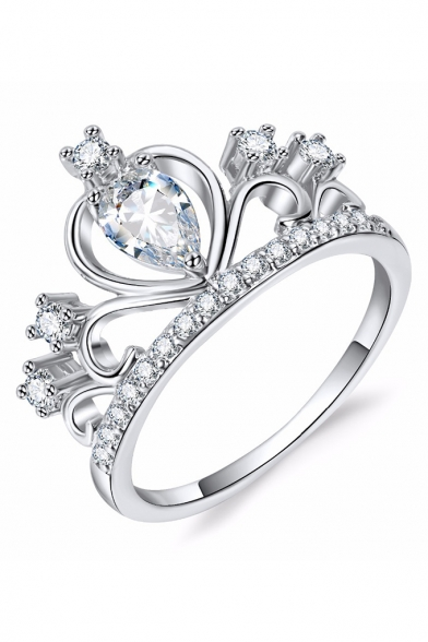 Crown Shaped Enement Rings | Women S Fashion Crown Shaped Diamond Gem Studded Slim Shank Ring