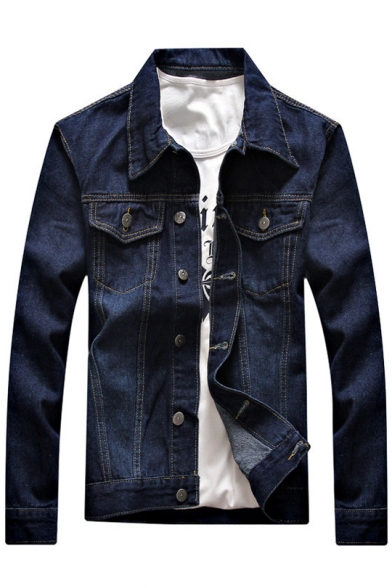 Ripped Autumn Pockets Fashion with Denim Chest Down Long Button Sleeves Lapel Jacket rYqPwAr