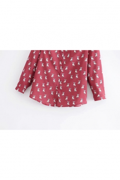 Cartoon Dog Print Breasted Sleeve Shirt Chic Single Lapel Repetitive Long OAqRwvw
