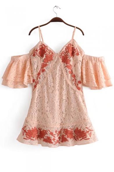 Cold Shoulder Spaghetti Strap Short Sleeve V Neck Floral Embroidered Mini Dress