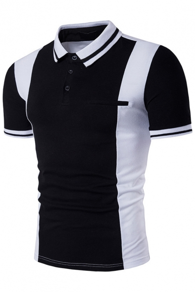 Tee Collar Lapel Block Sleeve Short Color Pocket with Faux qAXHEwqx