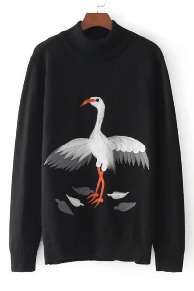 Pullover Mock Neck Sweater Cartoon Sleeve Crane Cute Long Print UW0nqF