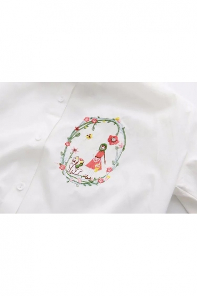Fancy Cartoon Cat Embroidered Point Collar Long Sleeves Button Down Shirt