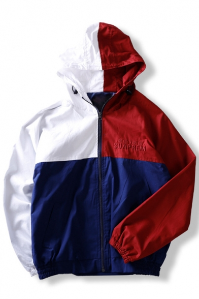 Fashion Letter Color Block Print Zipper Long Sleeve Hooded Jacket