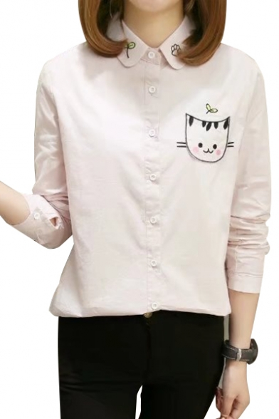 Breasted Sleeve Embroidered Cartoon Cat Fashionable Long Shirt Lapel Single qPxF4wX