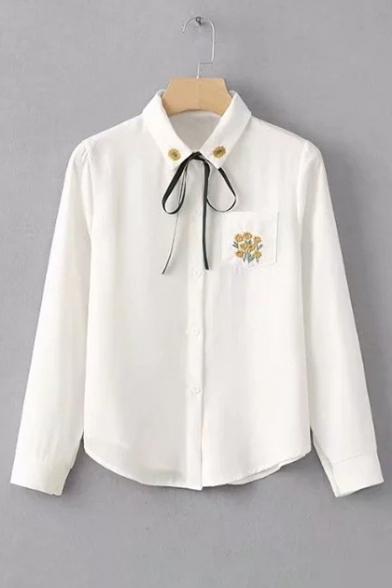 Fashionable Floral Embroidered Bow Tie Point Collar Long Sleeves Button Down Shirt